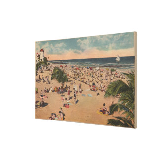 Miami, Florida - View of Sunbathers at Miami Canvas Print