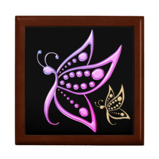 Miami Gold Butterfly Dots Large Square Gift Box