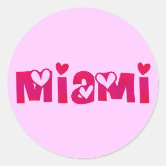 Miami in Hearts Classic Round Sticker