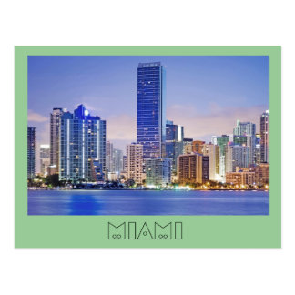 Miami s Brickell Avenue skyline Post Card