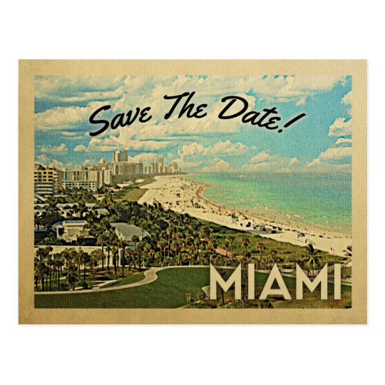 Miami Save The Date Florida City Coast Postcard
