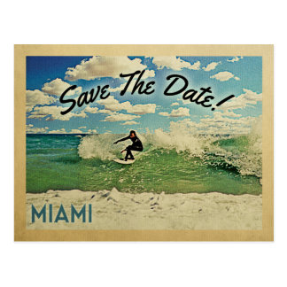 Miami Save The Date Florida Surfing Postcard