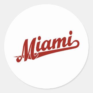 Miami script logo in red classic round sticker