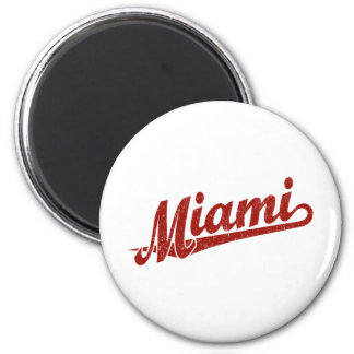 Miami script logo in red distressed 6 cm round magnet