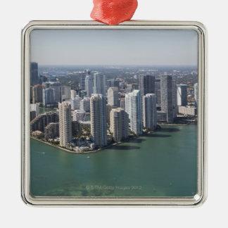 Miami Skyline 2 Silver-Colored Square Decoration
