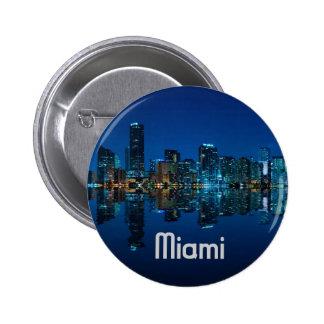 Miami Skyline at Dusk 6 Cm Round Badge