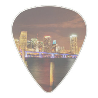 Miami skyline at night, Florida Acetal Guitar Pick