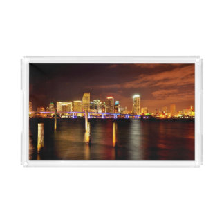 Miami skyline at night, Florida Acrylic Tray