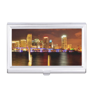 Miami skyline at night, Florida Business Card Holder