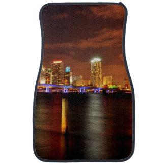 Miami skyline at night, Florida Car Mat