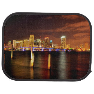 Miami skyline at night, Florida Car Mat