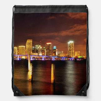 Miami skyline at night, Florida Drawstring Bag