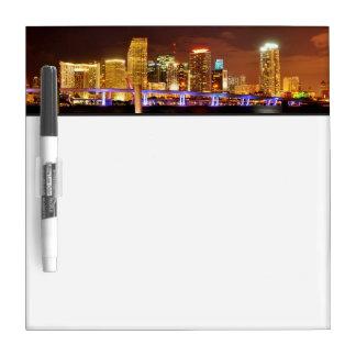 Miami skyline at night, Florida Dry Erase Board