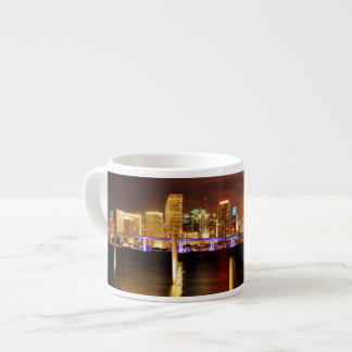 Miami skyline at night, Florida Espresso Cup