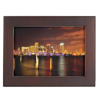 Miami skyline at night, Florida Keepsake Box