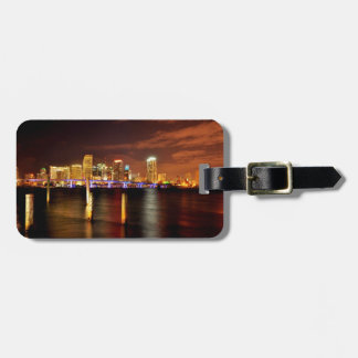 Miami skyline at night, Florida Luggage Tag