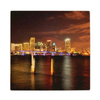 Miami skyline at night, Florida Maple Wood Coaster
