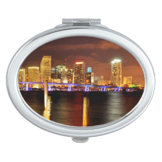 Miami skyline at night, Florida Mirrors For Makeup