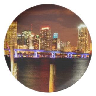 Miami skyline at night, Florida Plate