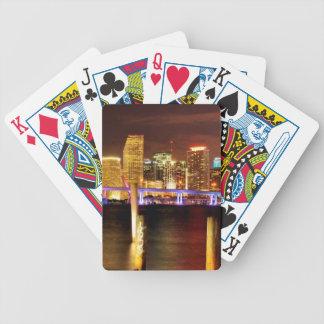 Miami skyline at night, Florida Poker Deck