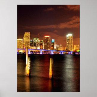 Miami skyline at night, Florida Poster