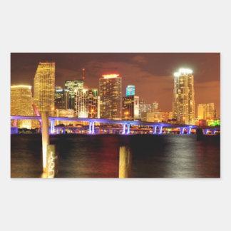 Miami skyline at night, Florida Rectangular Sticker