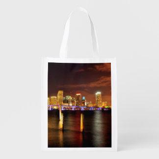 Miami skyline at night, Florida Reusable Grocery Bag