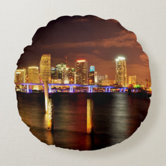 Miami skyline at night, Florida Round Cushion