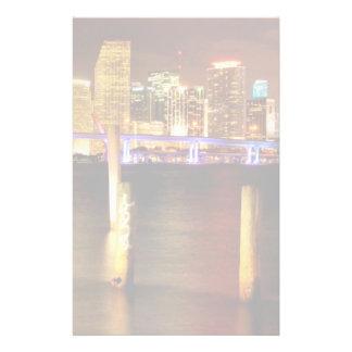 Miami skyline at night, Florida Stationery