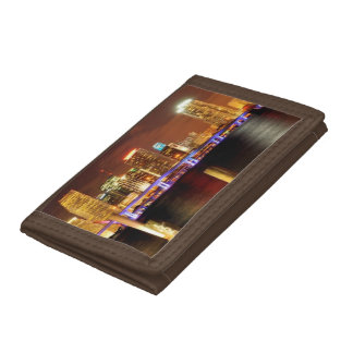 Miami skyline at night, Florida Tri-fold Wallet