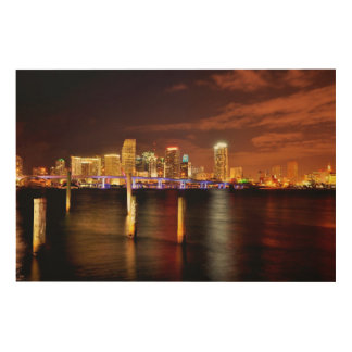 Miami skyline at night, Florida Wood Wall Decor
