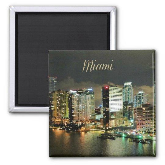 Miami Skyline at Night Magnet