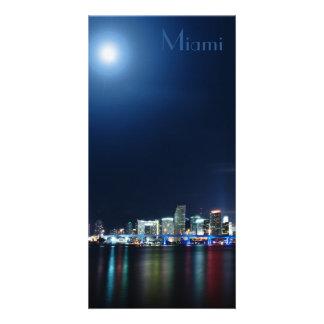 Miami skyline at night panorama - Bookmark Custom Photo Card
