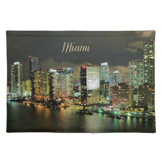 Miami Skyline at Night Placemat