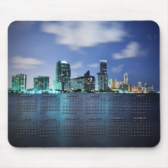 Miami skyline at night with 2011 calendar mouse mat