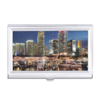 Miami skyline city in Florida Business Card Holder