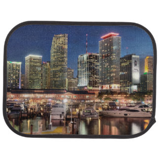 Miami skyline city in Florida Car Mat