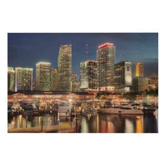 Miami skyline city in Florida Wood Print
