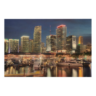 Miami skyline city in Florida Wood Wall Decor