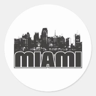 Miami Skyline Classic Round Sticker