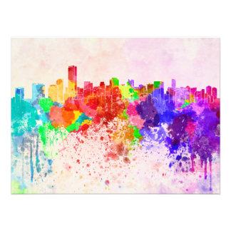 Miami skyline in watercolor background art photo
