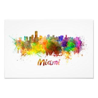 Miami skyline in watercolor photo print