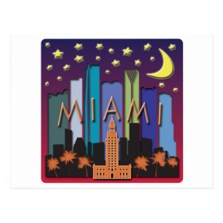 Miami Skyline Mega Color Postcard