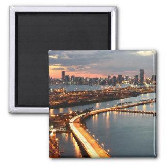 Miami Skyline Square Magnet