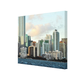 Miami skyscrapers against wide clear sky canvas print