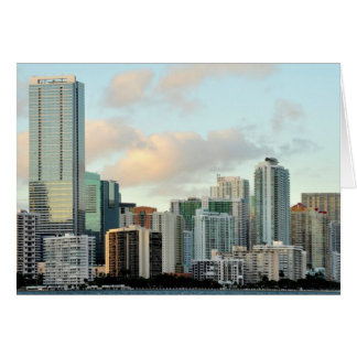 Miami skyscrapers against wide clear sky card