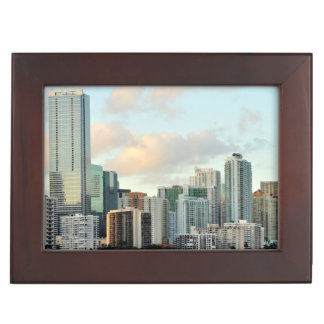 Miami skyscrapers against wide clear sky keepsake box