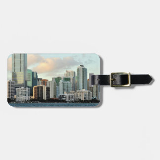 Miami skyscrapers against wide clear sky luggage tag