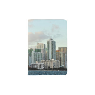 Miami skyscrapers against wide clear sky passport holder