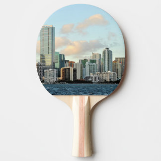 Miami skyscrapers against wide clear sky ping pong paddle